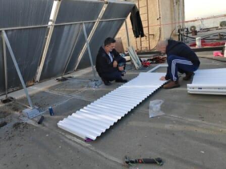 Этапы установки гагона (козырька) и сетки от птиц на мистор квиса (технический балкон)